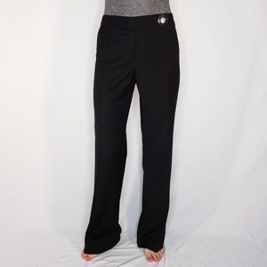 TORY BURCH Black Flare-Leg Wool Chrome Button Pant